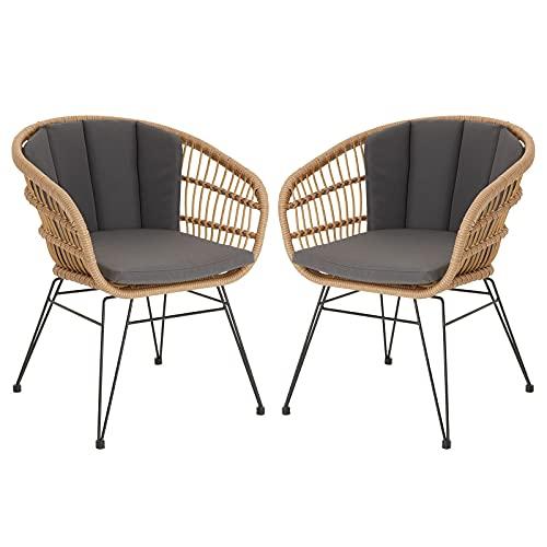 IDIMEX Gartenstuhl Costa inkl. Sitzkissen, eleganter Korbstuhl aus Flechtrattan, schöner Balkonstuhl im 2er Set