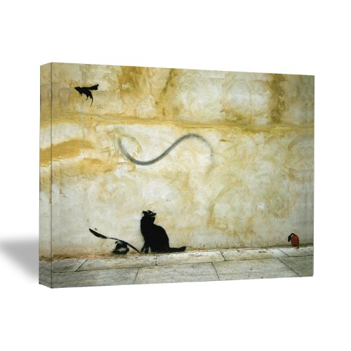 CanvasChamp Banksy Cat & Mouse 18x24 Gallery Wrapped Canvas ...