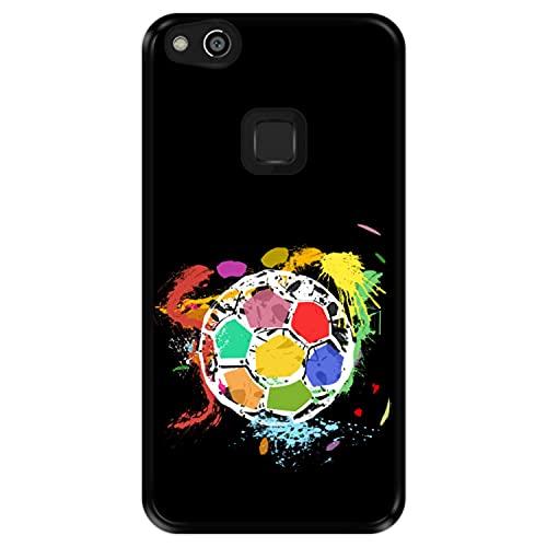 Funda Negra para [ Huawei P10 Lite ] diseño [ Balón de fútbol Abstracto, Multicolor ] Carcasa Silicona Flexible TPU