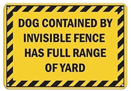 YY-one Cartel de estaño con diseño de perro con valla invisible que tiene una gama completa de yardas de metal de aluminio, decoración de pared de 30 x 20 cm