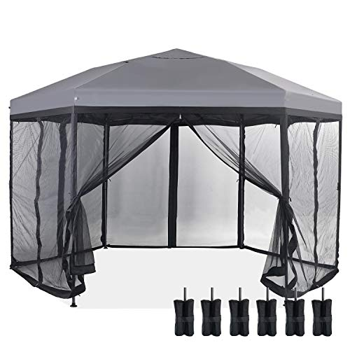 PHI VILLA 12'x 10' Pop Up UV Block Sun Shade Gazebo Canopy with Mosquito Netting, 6 Sided Gazebo Shade for Patio Outdoor BBQ Garden Events, Easy Set Up (Grey)