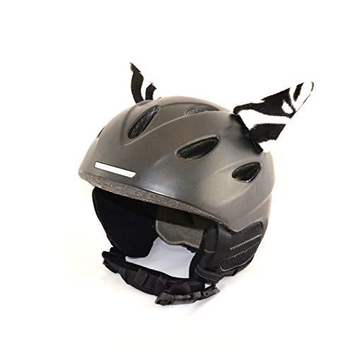 Helm-Ohren Tierohren für den Skihelm, Snowboardhelm, Kinder-helm, Kinder-Skihelm oder Motorradhelm - verwandelt den Helm in ein EINZELSTÜCK - der HINGUCKER - für Kinder und Erwachsene HELMDEKO (Zebra)
