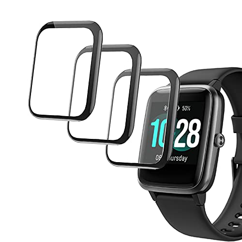 smaate 3D Screen Protector Only for ID205L ID205 ID205U ID205G Veryfitpro Smart Watch 1.3inch and compatible with Letsfit EW1, 3-PACK, Full Coverage Curved Edge frame, Anti-Scratch ID205LPTR01
