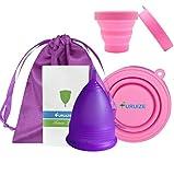 Copa Menstrual Furuize con Taza de Esterilización. Silicona suave de grado médico 100%. Previene infecciones y fortalece el suelo pélvico. Alternativa saludable, económica y ecológica (Talla L)