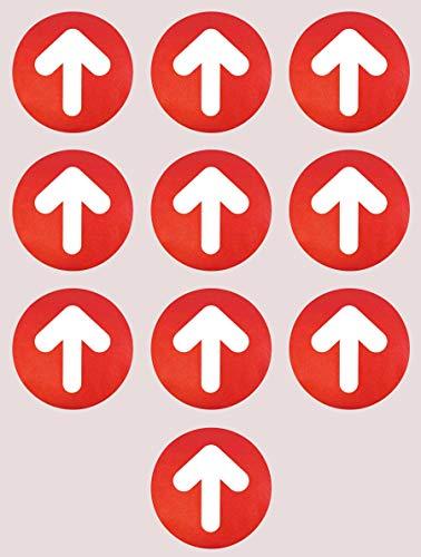 Flechas Adhesivas Para el Suelo 10 uds de 21 cm Pegatinas Antideslizantes de Señalización Suelo Vinilo Adhesivo Impreso con Textura Antideslizante para Suelo (ROJO)