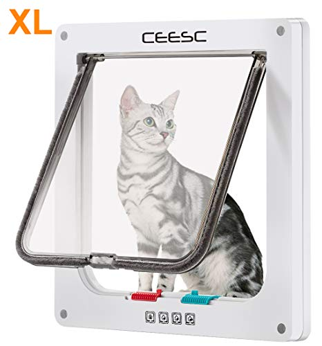 "CEESC Large Cat Door (Outer Size 11"" x 9.8""), 4 Way Locking Cat Door for Windows & Sliding Glass Door, Weatherproof Cat Flap Door for Cats & Doggie with Circumference < 24.8"""