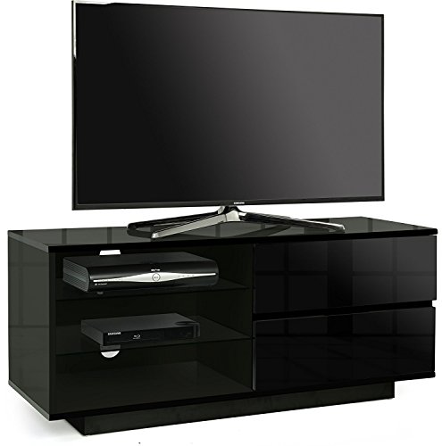 Centurion Gallus Gloss Black with 2-Black Drawers & 3-Shelf 26