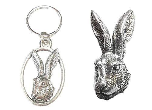 Emblems-gifts Hasen Kopf Schlüsselring und Anstecker Verpackt Geschenkset Handgefertigt in Massiver Zinn+59mm Knöpfe Abzeichen