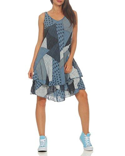 ZARMEXX Damen Sommerkleid Strand Kleid Patchwork-Print Ärmellos doppellagig A-Linie Jeansblau One Size (36-40)