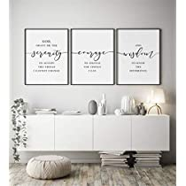 NATVVA Home Decor Sign Wall Art 3 Pieces Serenity Prayer Poster Prints Addiction Recovery Canvas Painting Framed Artwork for Living Room Bedroom Decoration