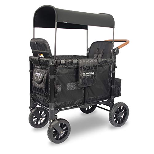 WONDERFOLD W2 Luxe Multi-Function 2 Passenger Folding Stroller Wagon with Adjustable Handle Bar and Canopy, Reclining Seats with Automatic Magnetic Buckles (Elite Black Camo)