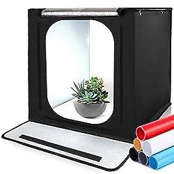 SAMTIAN Fotostudio Portable 16''x16''x16''/40 * 40 * 40cm Lichtzelt Beleuchtung Studio Schießen Zelt Box mit 4 Hintergrundpapier (schwarz, weiß,grau und Blau) für Fotografie