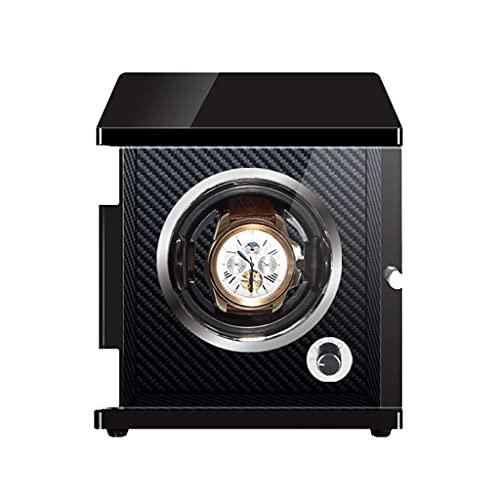 SGSG Devanadera automática de Lujo con 1 bobinadora Iluminación LED Motor japonés Mabuchi Carcasa de Madera Fibra de Carbono PU Cuero Almohada Caja de Almacenamiento