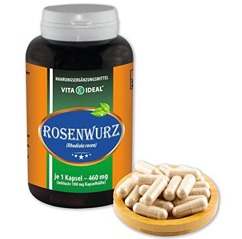 VITAIDEAL ® Rosenwurz (Goldene Wurzel, Rhodiola rosea) 360 Kapseln je 460mg, aus rein natürlichen Kräutern ohne Zusatzstoffe von NEZ-Diskounter