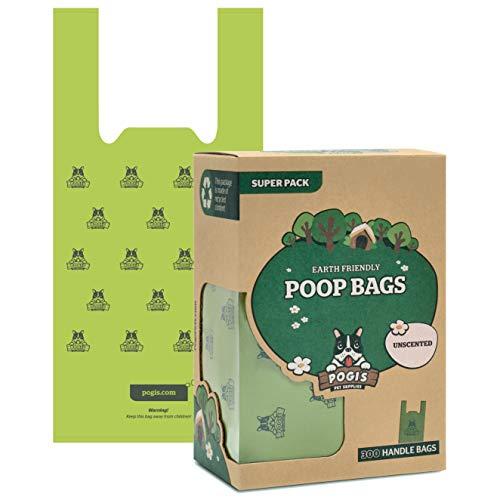 Pogi's Hundekotbeutel - 300 unparfümierte Tüten mit Verschlussträgern - große, biologisch abbaubare, tropfsichere Hundetüten
