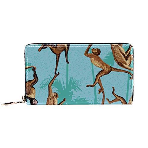 XCNGG Frauen Reißverschluss um Brieftasche und Telefon Clutch, Reisetasche Leder Clutch Bag Kartenhalter Organizer Wristlets Wallets, AFFE im Dschungel Palmen