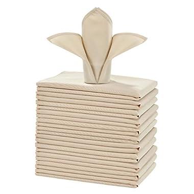 cieltown Polyester Cloth Napkins 1-Dozen (20 x 20-Inch, beige)