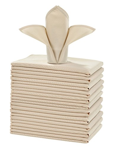 Cieltown Polyester Cloth Napkins 1-Dozen, Solid Washable Fabric Napkins Set of 12, Perfect for Weddings, Parties, Holiday Dinner (20 x 20-Inch, Beige)