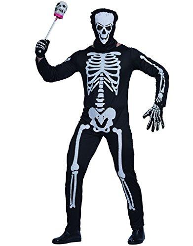 EraSpooky Herren Halloween Karneval Fasching Skelett Kostüm und Maske