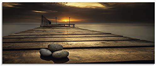 Artland Glasbilder Wandbild Glas Bild einteilig 125x50 cm Querformat Natur Strand Steg Schwarzes Meer Küste Wolken Himmel Sonnenaufgang S7HW