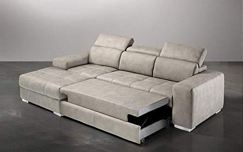Dafne Italian Design Ecksofa, 3-Sitzer, mit Halbinsel, links, Kunstleder, Nubuk-Optik, Grau (259 x 178 x 94 cm)