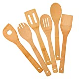 Küchenhelfer Set 6 Stück,Pfannenwender,Kochlöffel,Küchenutensilien,Küchenzubehör - Holz kochlöffel Set,aus Bambus