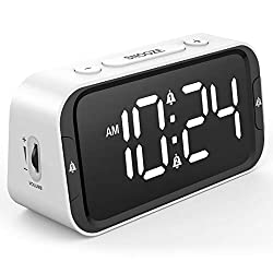 LIELONGREN Small Digital Alarm Clock for Heavy Sleepers with 100dB Extra Loud Alarm, USB Charger, Dual Alarm, LED Display, Battery Backup, Desk/Bedside Alarm Clock for Bedroom (White B)