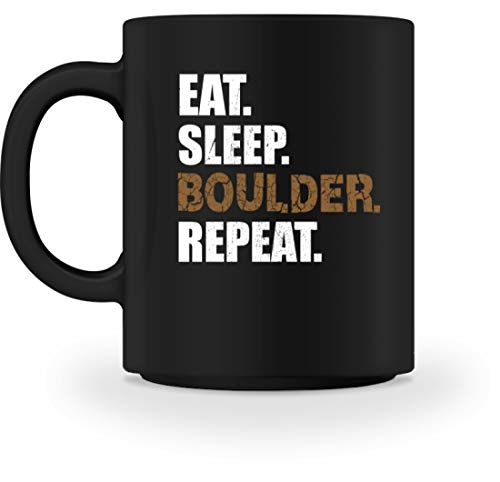 Generisch Eat Sleep Boulder Repeat Kletterhalle Klettern Boulderwand Climbing Bouldern Kletterwand - Tasse -M-Schwarz