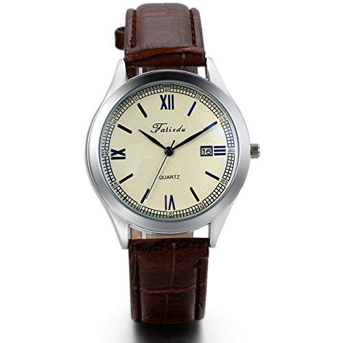 JewelryWe Herren Armbanduhr, Analog Quarz, Einfach Business Casual Kalender Leder Armband Uhr mit Weiss Römischen Ziffern Zifferblatt & Blau Zeiger, Braun