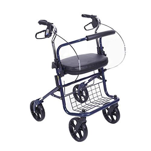LIXBB YANGLOU-Carro de Compras- Carrito de Compras con Asistencia a Mano Ligera Anciana Plegable Scooter Walker, rodamiento a Unos 100kg (Color: Rojo) / ZDGWC-79 (Color : Blue)