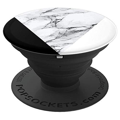 Black White Marbled Chic Geometric Design PopSockets Grip and Stand for Phones and Tablets