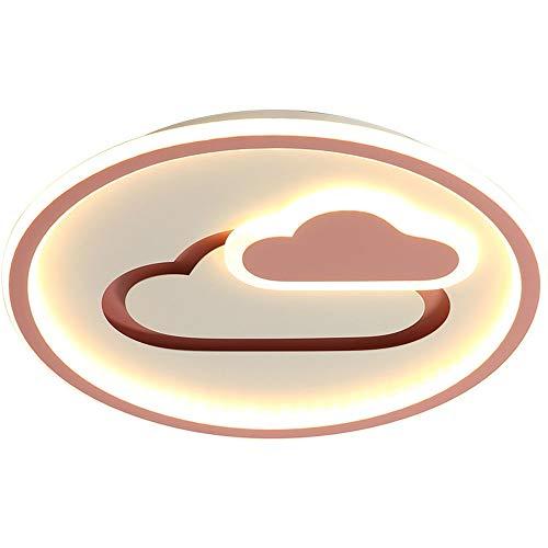 GUK Plafón Metal Redonda LED Rosa Moderna Control Remoto Habitación Los Niños Anillo Regulable Lámpara Techo Dormitorio Sala Estar Cocina Comedor Adolescente Pantalla Acrílico Blanco,Ø50CM