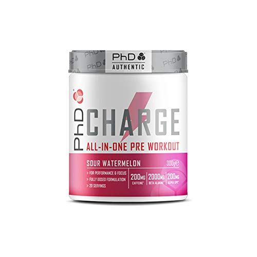 PhD Charge Pre Workout Powder, with Creatine, Caffeine, Beta Alanine, Alpha GPC and BCAA, Sour Watermelon, 300 g