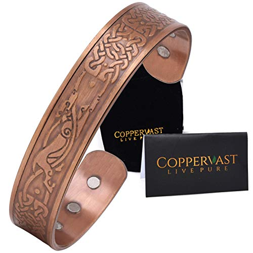 Coppervast Copper Bracelet for Men- Arthritis Therapy Effective & Natural Relief for Joint Pain-Celtic Dog