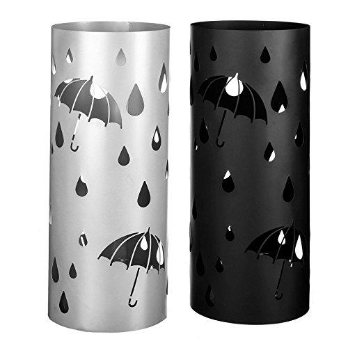 dcasa - Paragüero moderno metal negro y plata. 19,50 x 19,50 x 49 cm - Negro
