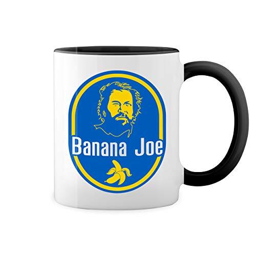 Banana Joe Bud Spencer Carlo Pedersoli Retro Weiße Kaffeetasse Mug mit schwarzen Felgen & Griff