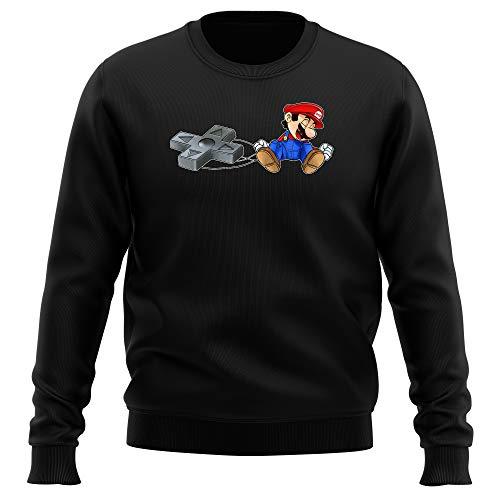 Okiwoki Pull Noir Parodie Super Mario - Super Mario - Mario-Nette Off (Sweatshirt de qualité Premium de Taille L - imprimé en France)