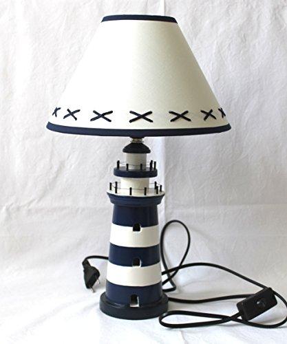 Tischlampe Lampe Leuchtturm BLAU-WEISS 40cm
