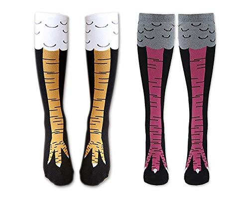 DSstyles 2 Paar Frauen Mädchen Hähnchenschenkel Socken Kniestrümpfe Neuheit Cosplay Baumwollsocken (Schwarz und weiß) (Schwarz und Magenta)