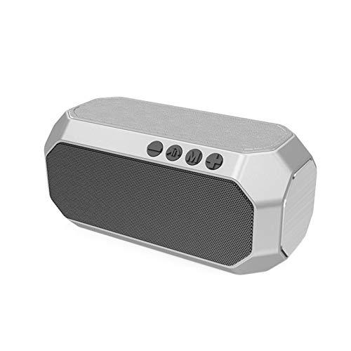 JUNPE Altavoz portátil Bluetooth Al Aire Libre Impermeable Tarjeta portátil Portátil subwoofer de Altavoz Altavoz HiFi Música inalámbrica USB Altavoces (Color : Silver)