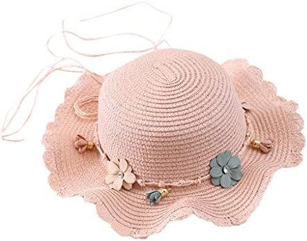 KEJINKCSEE Summer Beach Straw Hat for Kids Girls with Flower Beaded Wide Brim Floppy Beach Cap product image