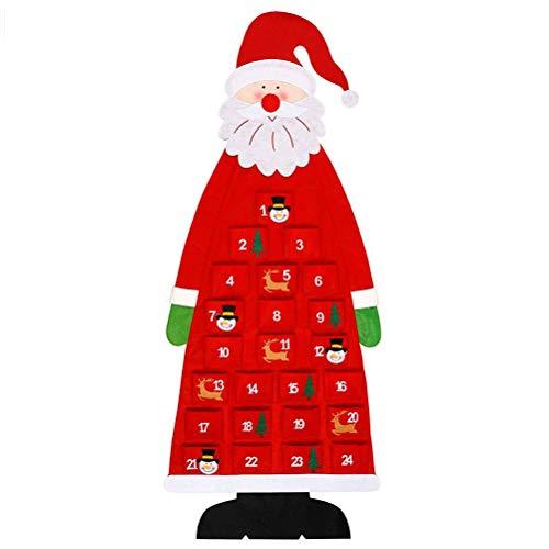 Auplew Navidad Papá Noel Fieltro Calendario de Adviento Calendario de Navidad Adornos de Navidad DIY Calendario de Regalos