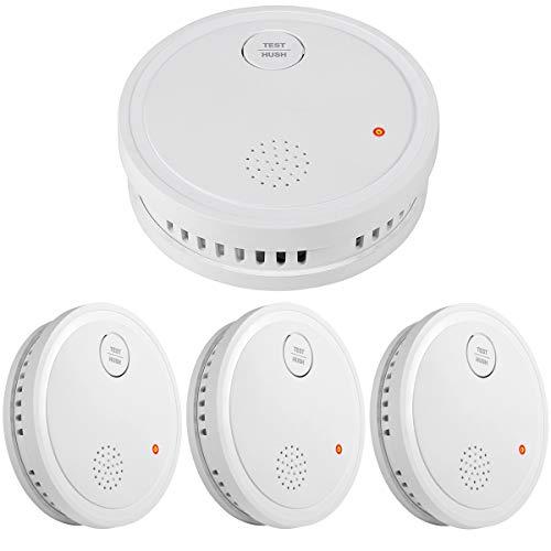 Semoss 3 Piezas 10 Años Detector de Humo Carga de Bateria Alarma de Seguridad Contra Incendios Kit con inteligente Sensor Fotoeléctrico,Certificado TUV EN14604,85db