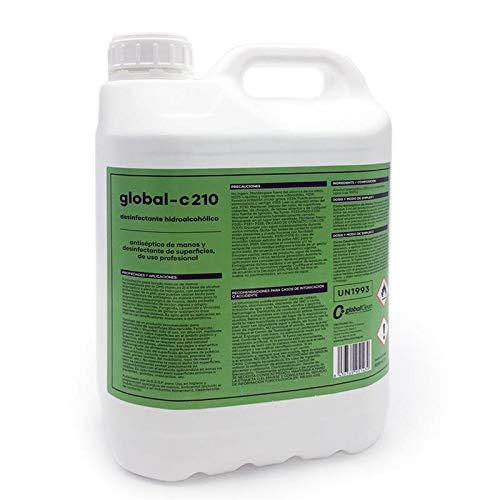 GLOBAL-C210 Desinfectante Virucida Bactericida Fungicida Profesional Superficies y Antiséptico Manos, Autorizado D.G.S.P. Recomendado por la OMS, 5 Litros (5000ml.)