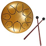 Steel Tongue Drum, DDSKY 6 Inch 8 Notes Lotus Type Handpan Drum Percussion Instrument Steel Drums Instruments with Bag Mallets Mallet Bracket for Mind Healing Yoga Meditatio (Golden)