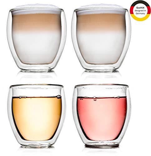 Creano doppelwandiges Thermoglas, 400ml, 4er Set, hitzebeständiges Kaffeeglas/Teeglas aus hochwertigem Borosilikatglas (DG-Bauchig)