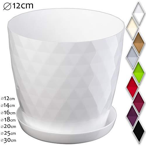 KADAX - Vaso per fiori e piante con sottovaso, materiale leggero e resistente, un vaso decorativo per piante