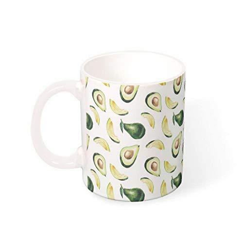O2ECH-8 11 oz Avocado Mischen Cappuccino Tassen mit Griff Hochwertige Keramik Unique Tasse - Physique Urlaub Weihnachten Gegenwart, Anzug für Restaurant verwenden White 330ml