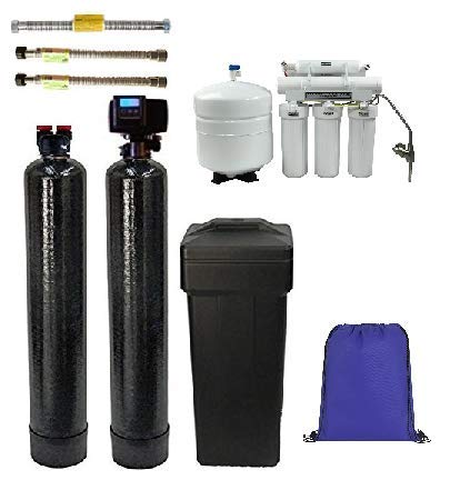 ABCwaters Triple Combo Whole House Fleck 5600sxt 48,000 Grain Water Softener System w/UPGRADED 10% resin + Upflow Carbon Tank + (HE) 5 Stage Reverse Osmosis Drinking Water Unit 75 gpd