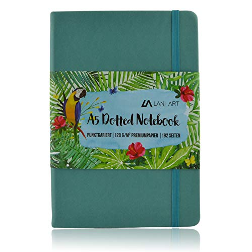 Lani Art Dotted Bullet Journal Notizbuch A5 Gepunktet, Hardcover Dot Grid Notebook, Premium Papier 120g/m², Kunstleder Notizbuch Punktkariert (Pastellblau)
